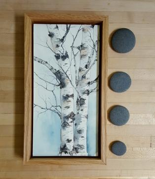 "6""x12"" Lyme, NH Birches w/ Oak Frame - SOLD"
