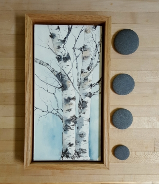 "6""x12"" Lyme, NH Birches w/ Oak Frame - SOLD"
