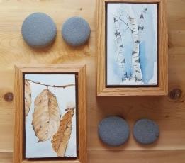 """3""""x5"""" Beech Leaves & Birch Trees w/ Oak Frames - SOLD"""