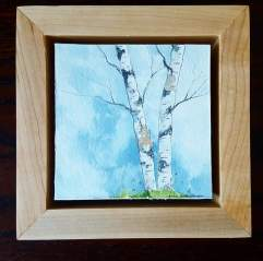 "4""x4"" Braintree, VT Birches w/ Maple Frame - SOLD"