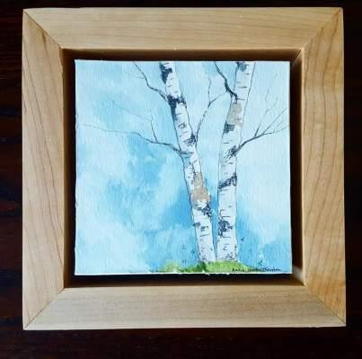"""4""""x4"""" Braintree, VT Birches w/ Maple Frame - SOLD"""