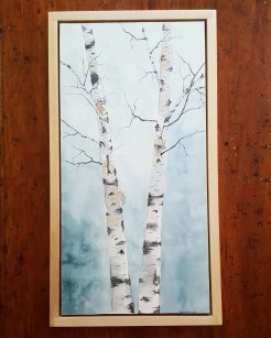 "12""x24"" Birches w/ Maple Frame - SOLD"