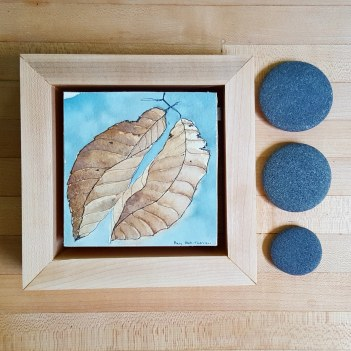 "4""x4"" Beech Leaves w/ Maple Frame - Available"
