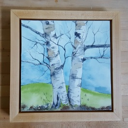"""8""""x8"""" Lyme, NH Birches w/ Maple Frame - SOLD"""