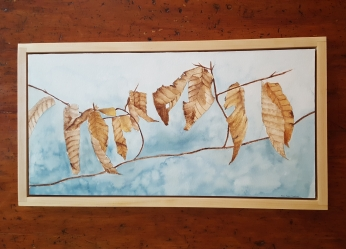 "12""x24"" Winter Beech Leaves w/ Maple Frame - Available"