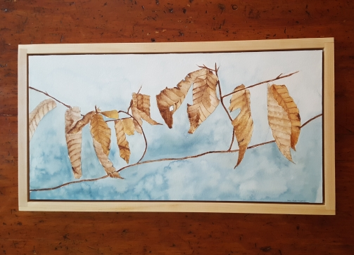 """12""""x24"""" Winter Beech Leaves w/ Maple Frame - Available"""