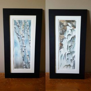 """5""""x12"""" Birches & Waterfall - Both SOLD"""