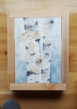 """5""""x7"""" Birches w/ Maple Frame - Available"""