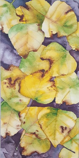 """Leaf Pile 3 - 6""""x12"""" Original Watercolor"""