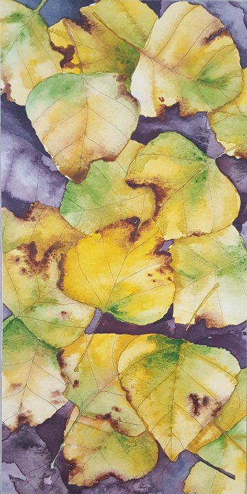 "Leaf Pile 3 - 6""x12"" Original Watercolor"