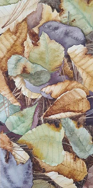 "Leaf Pile 2 - 6""x12"" Original Watercolor"