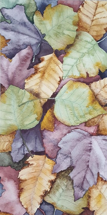 "Leaf Pile - 6""x12"" Original Watercolor"