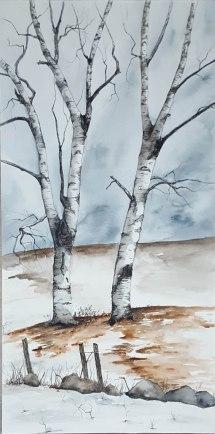 "Snow Dancers - 12""x24"" Original Watercolor Mounted on Wood Panel"